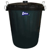 Garbage Bin 55L Green with black lid