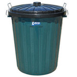 Garbage Bin 73L Green with black lid