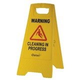 Sign 'Cleaning in Progress' Yellow